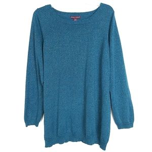 Women's  Teal Sparkle Sweater Top Sz 14/16